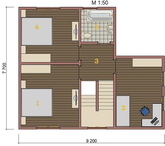 Котедж Optima-09 95.5кв м план 2 поверху