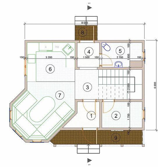 Котедж Optima-18 86,96кв м план 1 поверху