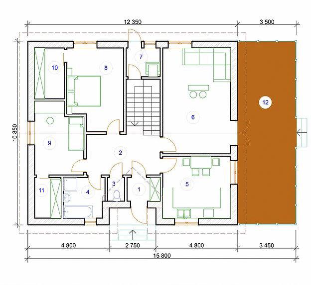 Котедж Prestige-10 172,15кв м план 1 поверху
