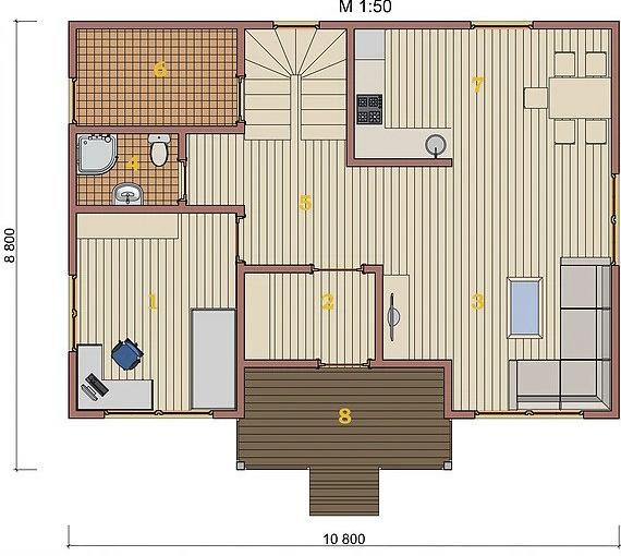 Котедж Villa Classic-01 140,6кв м план 1 поверху