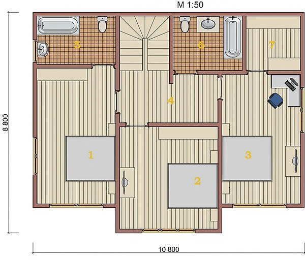 Котедж Villa Classic-01 140,6кв м план 2 поверху