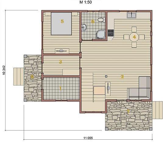 Котедж Villa Classic-07 123,6кв м план 1 поверху