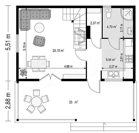 Котедж Сompact-18 80кв м план 1 поверху