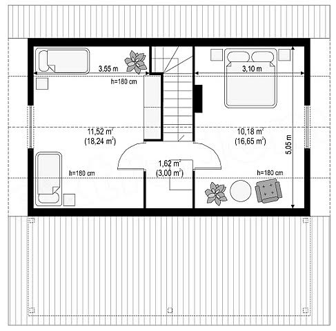 Котедж Сompact-18 80кв м план 2 поверх