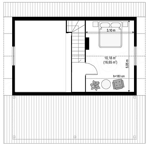 Котедж Smart-11 58,76кв м план 2 поверху