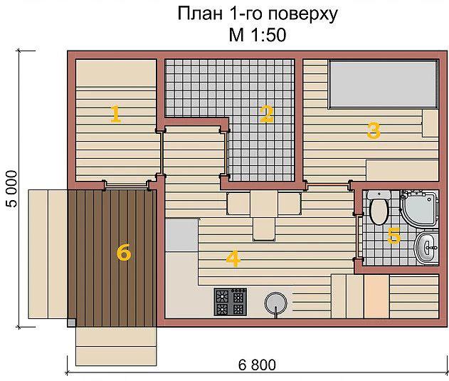 Котедж Smart-3 54кв м план 1-го поверху