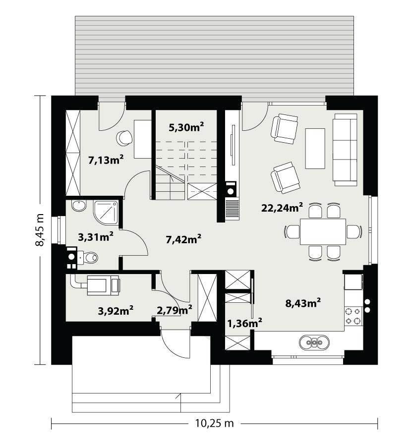 Каркасний будинок Немо 109,29 кв м план 1 поверху