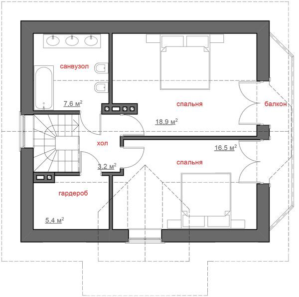 Каркасний котедж CH-218 106,6 кв м план 2 поверху