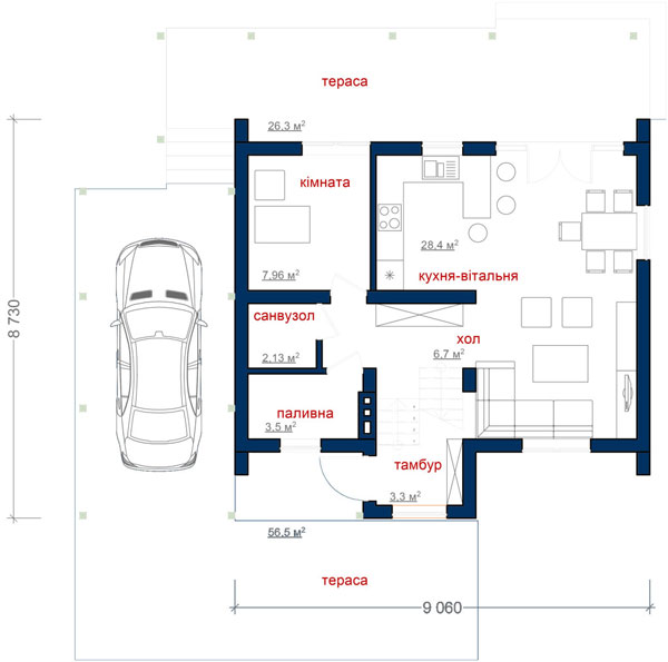 Каркасний котедж CH-184 99кв м план 1 поверху