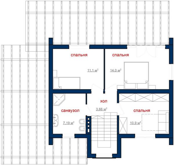 Каркасний котедж CH-184 99кв м план 2 поверху