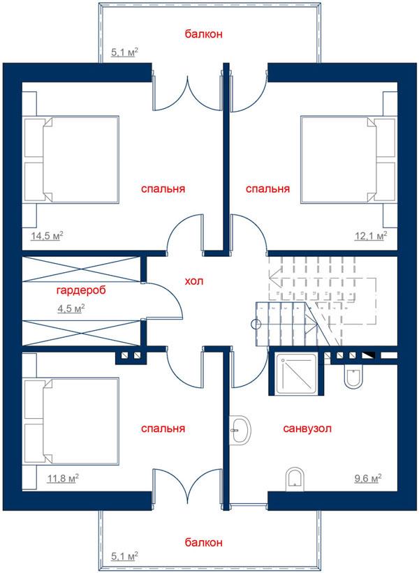 Каркасний котедж CH-183 113,9 кв м план 2 поверху